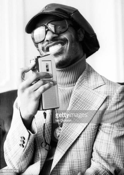 Stevie Wonder is interviewed after arriving in London for a series of concerts after recoering from a serious car accident January 1974