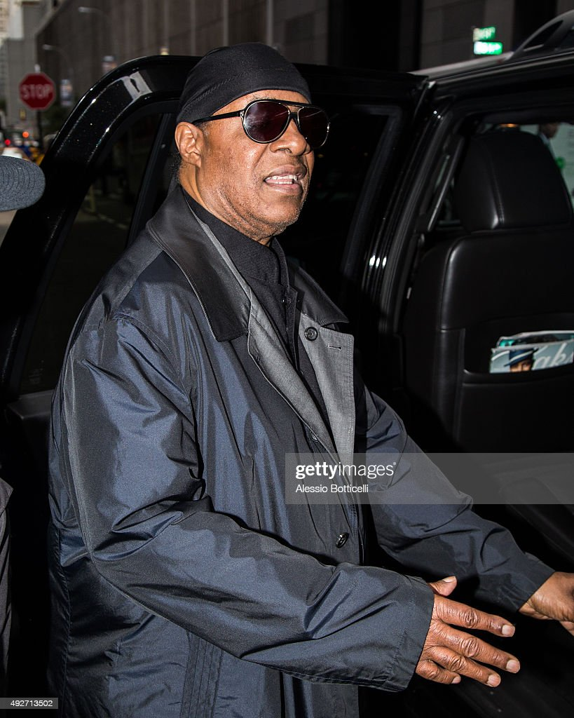 Stevie Wonder is seen leaving his hotel on October 14, 2015 in New York City.