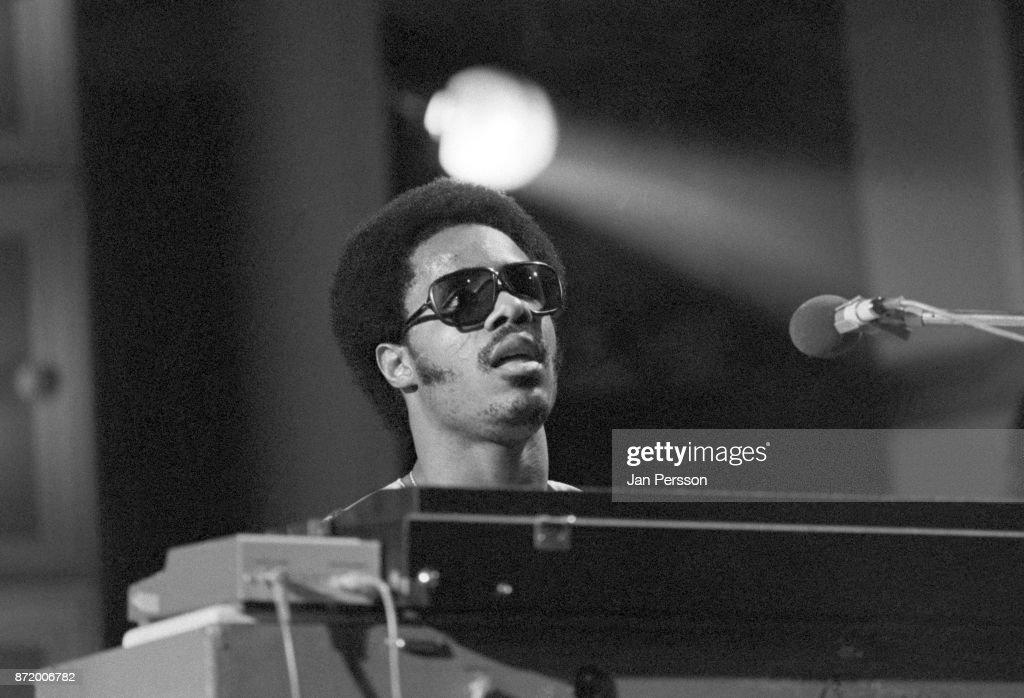 Stevie Wonder performing at MIDEM, Cannes, France, January 1974.
