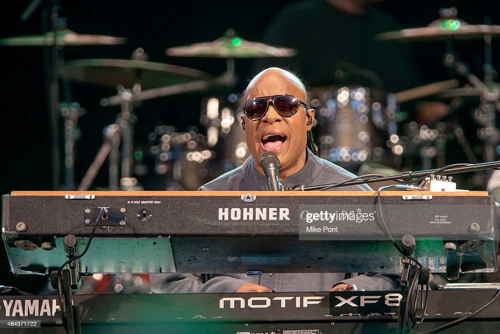 Stevie Wonder performs during his Songs in the Key of Life Performance Tour at Central Park SummerStage on August 17, 2015 in New York City.