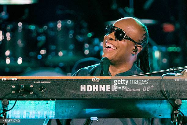 Stevie Wonder performs during his Songs in the Key of Life Performance Tour at Central Park SummerStage on August 17 2015 in New York City