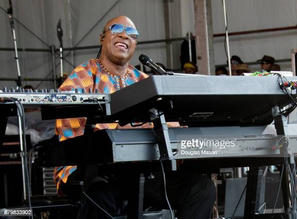 Stevie Wonder performs during the New Orleans Jazz Heritage Festival 2017 at Fair Grounds Race Course on May 6 2017 in New Orleans Louisiana