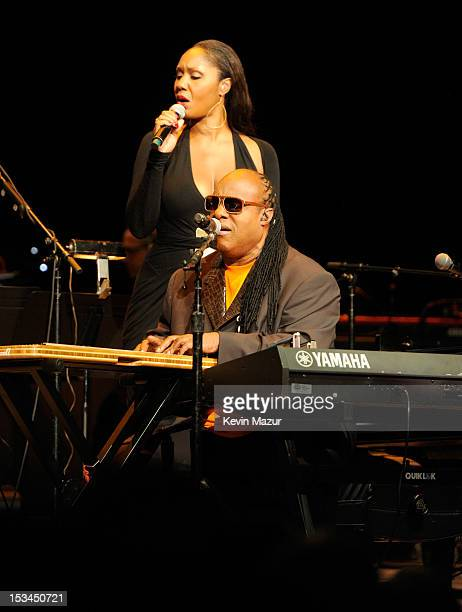 Stevie Wonder performs on stage at the Children's Health Fund 25th Anniversary Concert at Radio City Music Hall on October 4 2012 in New York City
