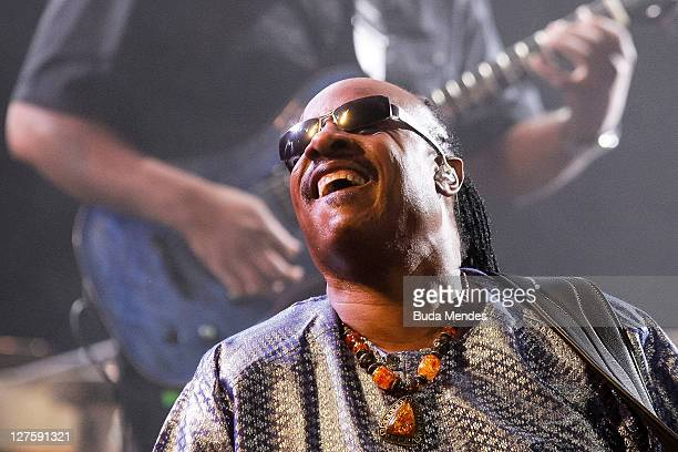 Stevie Wonder performs on stage during a concert in the Rock in Rio Festival on September 29 2011 in Rio de Janeiro Brazil Rock in Rio Festival comes...