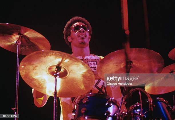 Stevie Wonder performs on stage playing the drums at the Rainbow Theatre on 30th January 1974 in London