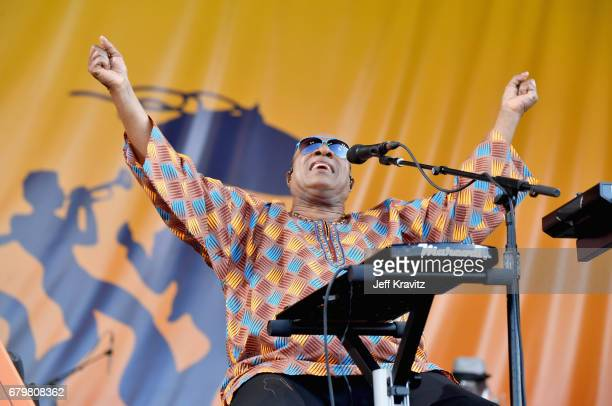 Stevie Wonder performs onstage during the 2017 New Orleans Jazz Heritage Festival Day 6 at Fair Grounds Race Course on May 6 2017 in New Orleans...