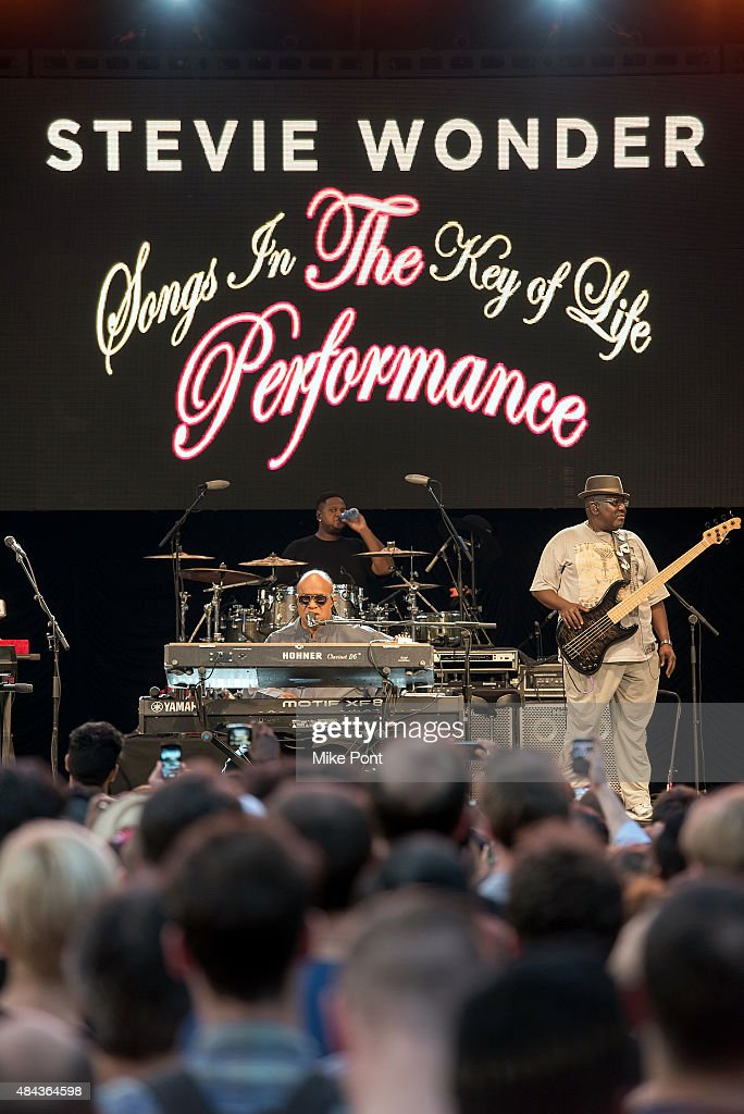 Stevie Wonder performs to announce his 'Songs in the Key of Life Performance Tour' at Central Park SummerStage on August 17, 2015 in New York City.