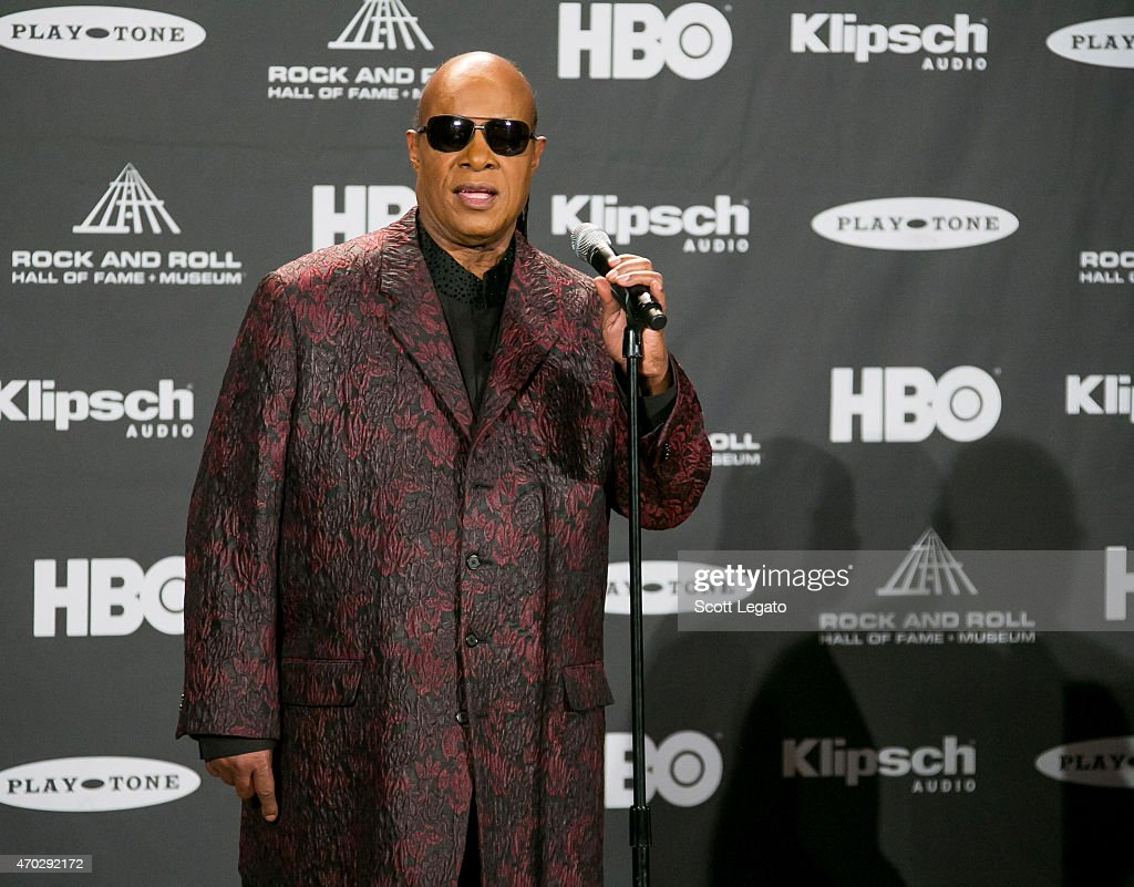 Stevie Wonder speaks during the 30th Annual Rock And Roll Hall Of Fame Induction Ceremony at Public Hall on April 18, 2015 in Cleveland, Ohio.