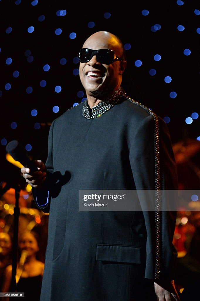 Stevie Wonder speaks onstage during Stevie Wonder: Songs In The Key Of Life - An All-Star GRAMMY Salute at Nokia Theatre L.A. Live on February 10, 2015 in Los Angeles, California.
