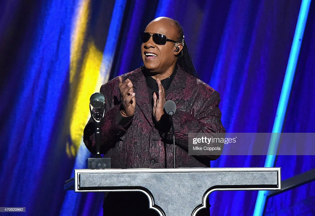 Stevie Wonder speaks onstage during the 30th Annual Rock And Roll Hall Of Fame Induction Ceremony at Public Hall on April 18, 2015 in Cleveland, Ohio.