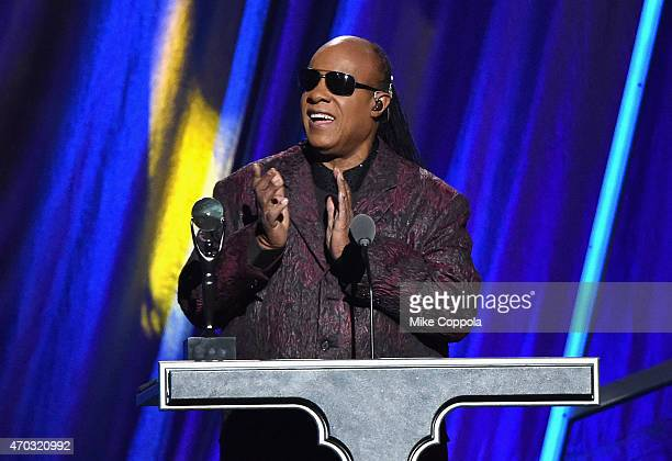 Stevie Wonder speaks onstage during the 30th Annual Rock And Roll Hall Of Fame Induction Ceremony at Public Hall on April 18 2015 in Cleveland Ohio