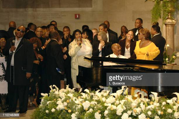 Stevie Wonder Usher Aretha Franklin Donnie Harper Alicia Keys Patti LaBelle and guest at the funeral service for Luther Vandross on Friday July 8 2005
