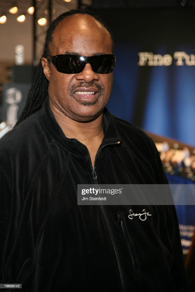 Stevie Wonder wearing a Sean John shirt poses for a portrait in Anaheim California at the NAMM show on January 19, 2008.