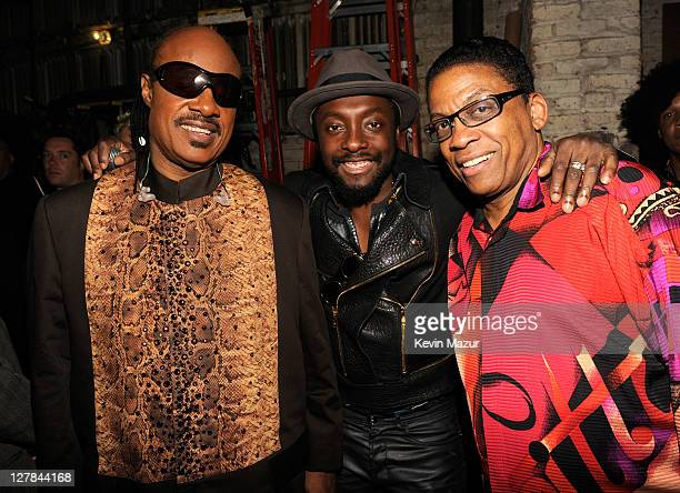 Stevie Wonder william of Black Eyed Peas and Herbie Hancock backstage during STING 25th Anniversary/60th Birthday Concert to Benefit Robin Hood...