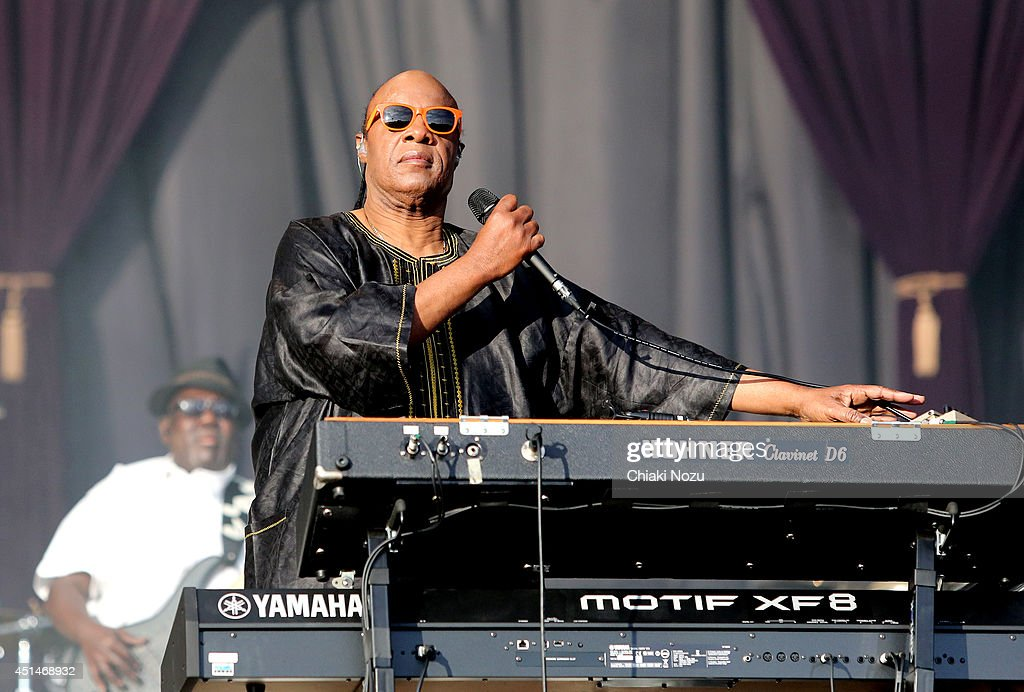 Steview Wonder performs on Day 2 of the Calling Festival at Clapham Common on June 29, 2014 in London, England.