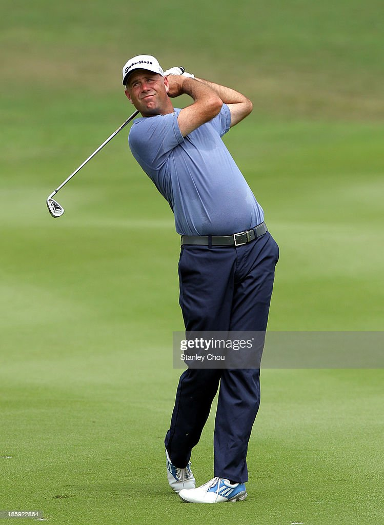 Steward Cink of USA plays a shot on the 9th hole during round three of the CIMB Classic at Kuala Lumpur Golf & Country Club on October 26, 2013 in Kuala Lumpur, Malaysia.