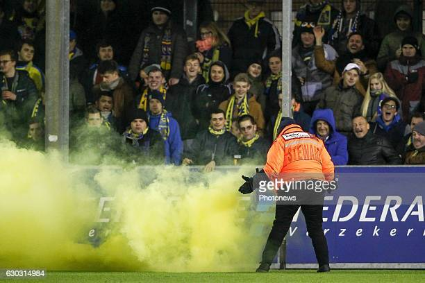 A steward in action during the Jupiler Pro League match between Royal Excel Mouscron and KVC Westerlo at Le Cannonier stadium in Oostende Belgium...