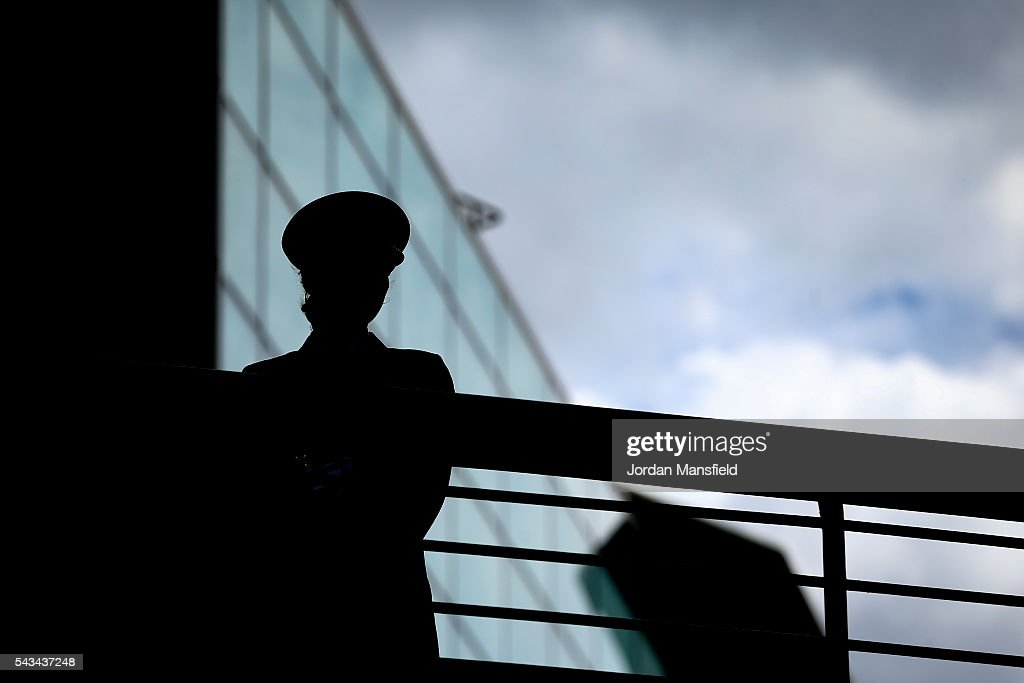 A steward watches on during day two of the Wimbledon Lawn Tennis Championships at the All England Lawn Tennis and Croquet Club on June 28, 2016 in London, England.