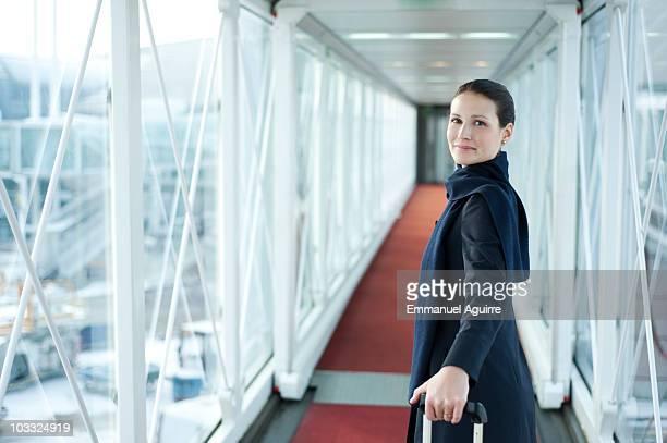 Stewardess on the gateway