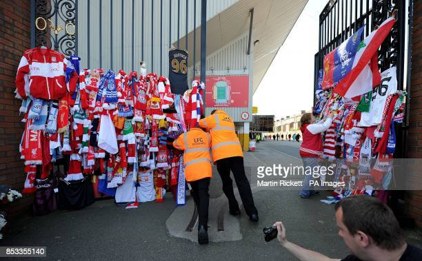 Stewards open the Shankly Gates at Anfield before the Hillsborough 25th Anniversary Memorial Service