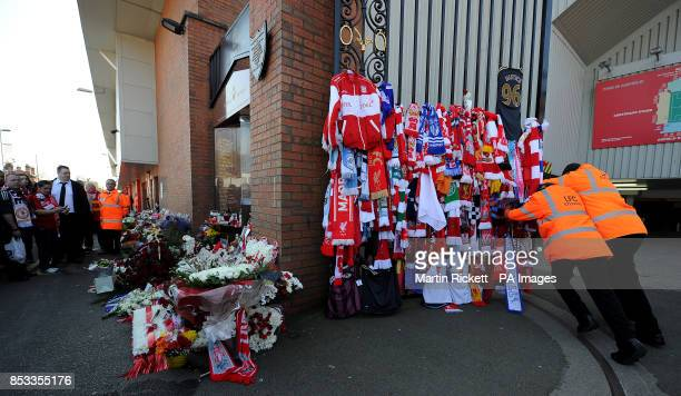 Stewards open the Shankly Gates at Anfield before the Hillsborough 25th Anniversary Memorial Service PRESS ASSOCIATION Photo Picture date Tuesday...