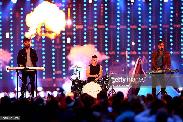 Stewart Brock Callum Wiseman and Lewis Gardner of Prides perform during the Closing Ceremony for the Glasgow 2014 Commonwealth Games at Hampden Park...