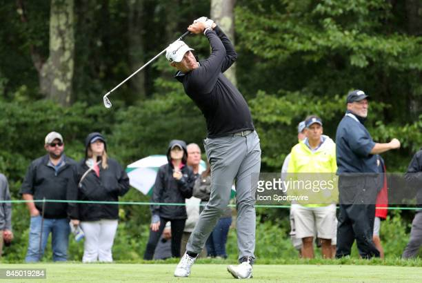 Stewart Cink of the United States hits from the 8th tee during the third round of the Dell Technologies Championship on September 3 at TPC Boston in...