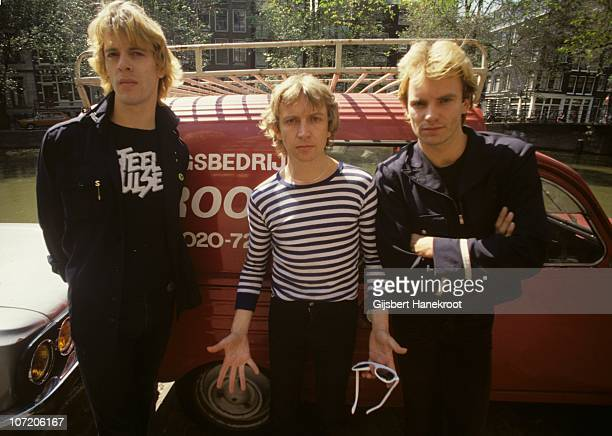 Stewart Copeland Andy Summers and Sting of the Police pose for a group portrait on 22nd June 1979 in Amsterdam Netherlands