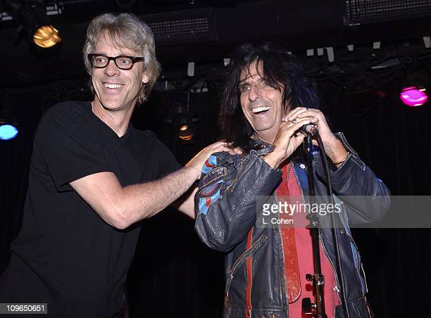 Stewart Copeland of the Police and Alice Cooper during 'Rock School' Los Angeles Premiere After Party and Performance at Knitting Factory in Los...
