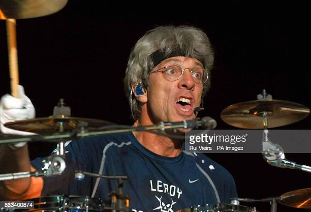 Stewart Copeland of the Police in concert at the National Indoor Arena in Birmingham