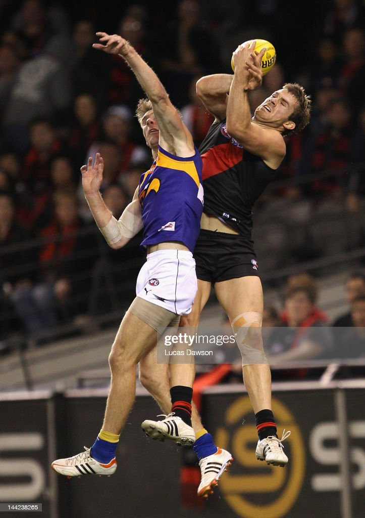 Stewart Crameri of the Bombers marks the ball during the round seven AFL match between the Essendon Bombers and the West Coast Eagles at Etihad Stadium on May 12, 2012 in Melbourne, Australia.