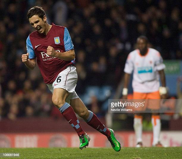 Stewart Downing celebrates scoring for Aston Villa during the Barclays Premier League match between Aston Villa and Blackpool at Villa Park on...