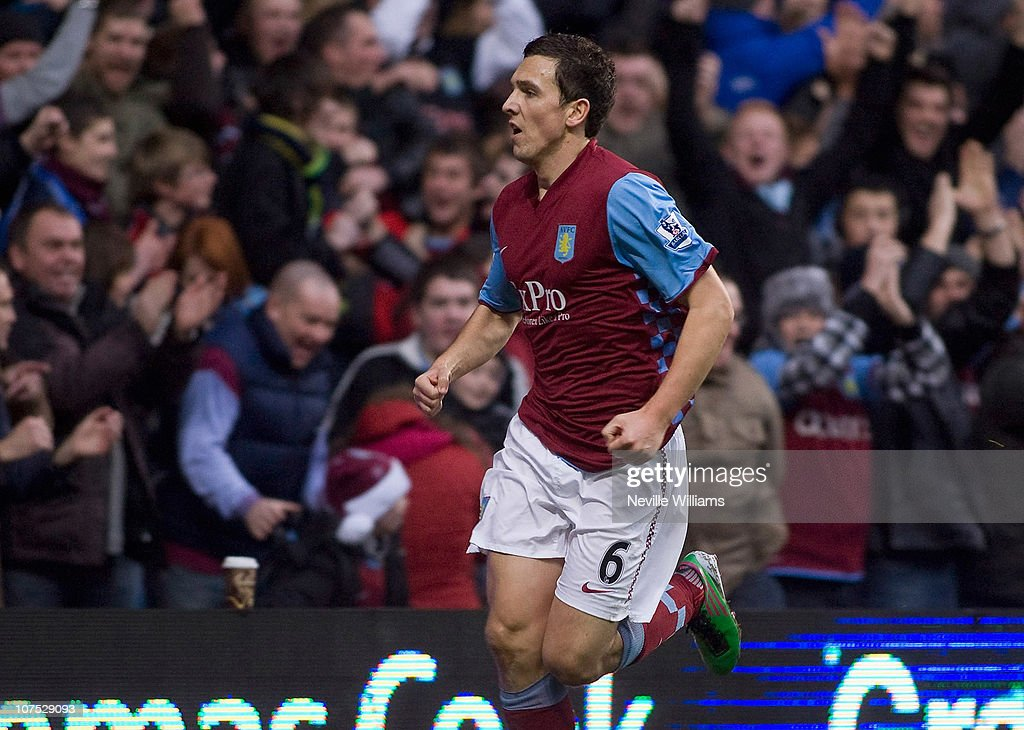 Stewart Downing of Aston Villa celebrates after scoring during the Barclays Premier League match between Aston Villa and West Bromwich Albion at Villa Park on December 11, 2010 in Birmingham, England.