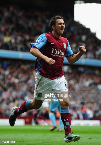 Stewart Downing of Aston Villa celebrates his goal during the Barclays Premier League match between Aston Villa and West Ham United at Villa Park on...