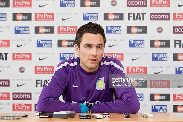 Stewart Downing of Aston Villa talks to the press during a press conference at the Aston Villa training ground Bodymoor Heath on March 31 2011 in...