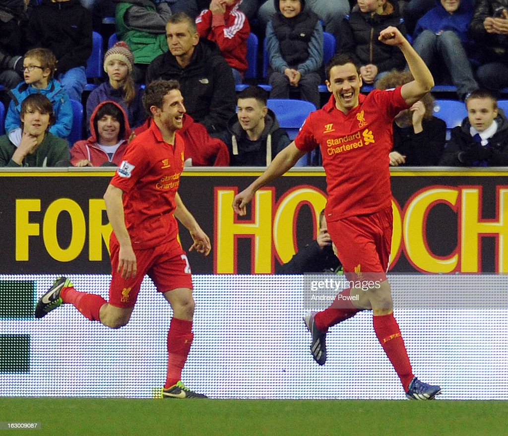 <a gi-track='captionPersonalityLinkClicked' href=/galleries/search?phrase=Stewart+Downing&family=editorial&specificpeople=238961 ng-click='$event.stopPropagation()'>Stewart Downing</a> of Liverpool celebrates after scoring the opening goal during the Barclays Premier League match between Wigan Athletic and Liverpool at DW Stadium on March 2, 2013 in Wigan, England.