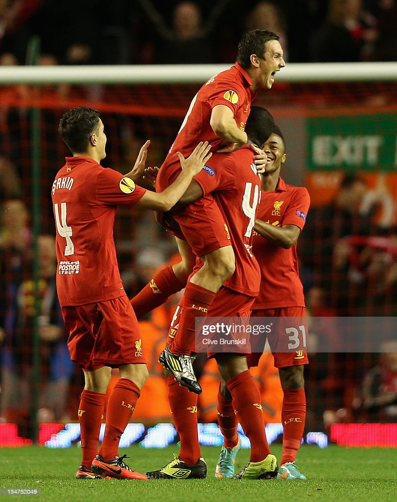 Stewart Downing of Liverpool celebrates scoring the opening goal during the UEFA Europa League Group A match between Liverpool FC and FC Anzhi...