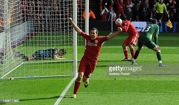 Stewart Downing of Liverpool celebrates the own goal scored by Laurent Koscielny of Arsenal during the Barclays Premier League match between...