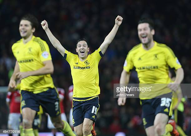 Stewart Downing of Middlesbrough celebrates after the Capital One Cup Fourth Round match between Manchester United and Middlesbrough at Old Trafford...