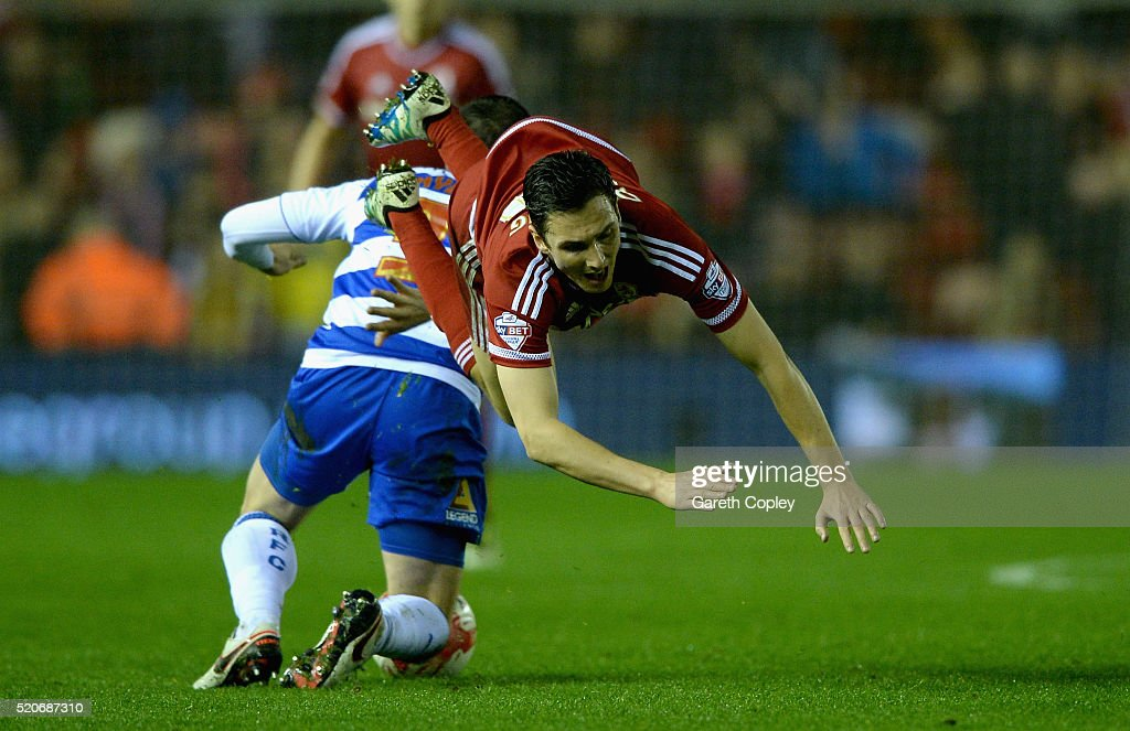 <a gi-track='captionPersonalityLinkClicked' href=/galleries/search?phrase=Stewart+Downing&family=editorial&specificpeople=238961 ng-click='$event.stopPropagation()'>Stewart Downing</a> of Middlesbrough is tackled by Andrew Taylor of Reading during the Sky Bet Championship match between Middlesbrough and Reading at the Riverside Stadium on April 12, 2016 in Middlesbrough, United Kingdom.