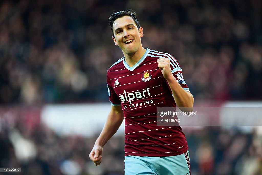 Stewart Downing of West Ham United celebrates as he scores their third goal during the Barclays Premier League match between West Ham United and Hull City at Boleyn Ground on January 18, 2015 in London, England.