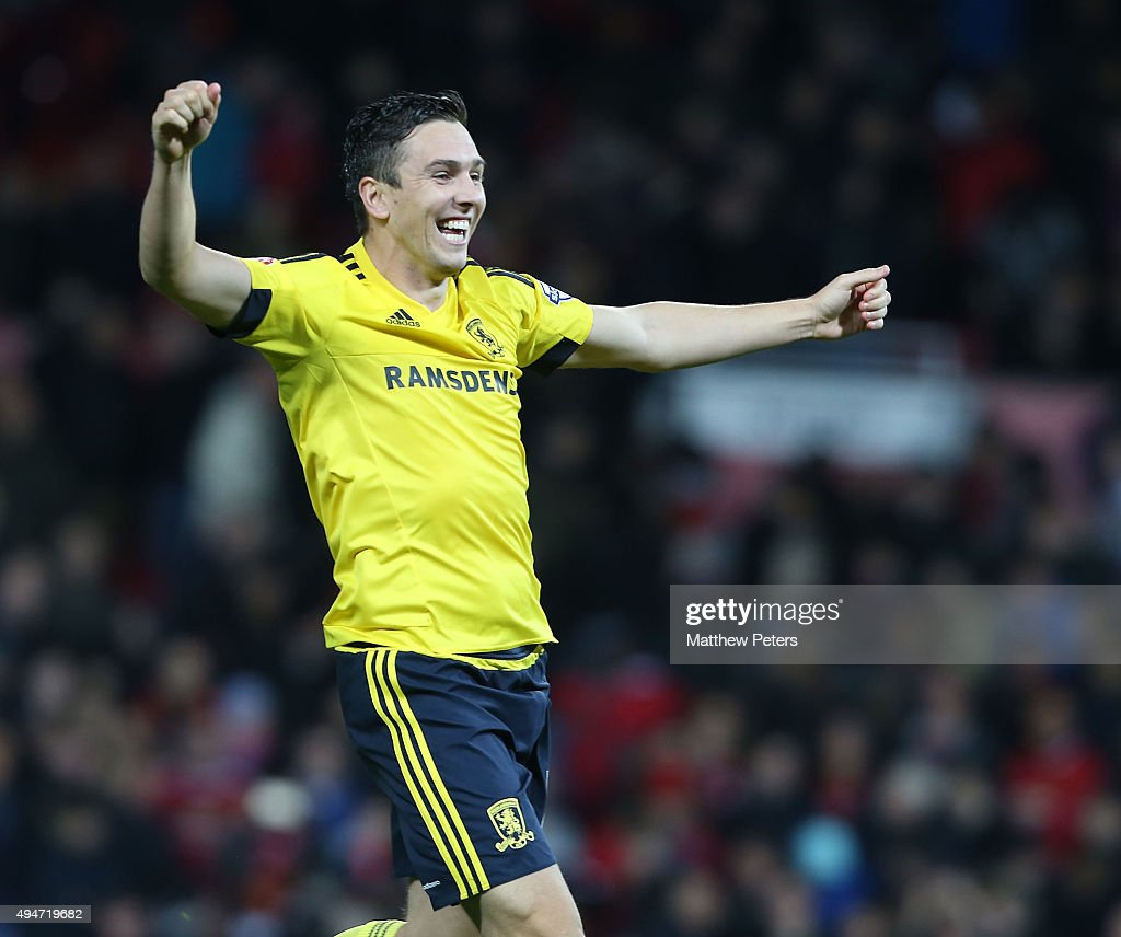 Stewart Downingof Middlesbrough celebrates after the Capital One Fourth Round match between Manchester United and Middlesbrough at Old Trafford on October 28, 2015 in Manchester, England.