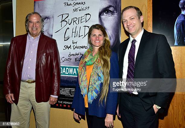 Stewart F Lane Bonnie Comley and Ben Birney attend the BroadwayHD Live Stream Of Sam Shepard's 'Buried Child' at Signature Theater on March 30 2016...