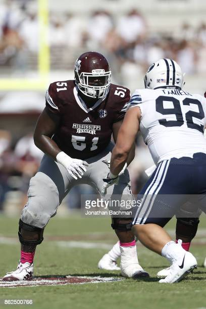 Stewart Reese of the Mississippi State Bulldogs blocks during a game against the Brigham Young Cougars at Davis Wade Stadium on October 14 2017 in...