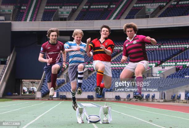 Stewart Shaw of Stuarts Melville Ross Turner of Fettes College Cameron Simpson of Accies and Nick Hurn of Watsons during a photocall at Murrayfield...