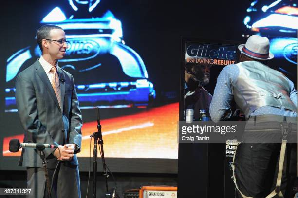 Stewart Taub Director of Shave Care Research Development at Procter Gamble speaks onstage as Actor Omar Epps shaves with the new Gillette Fusion...
