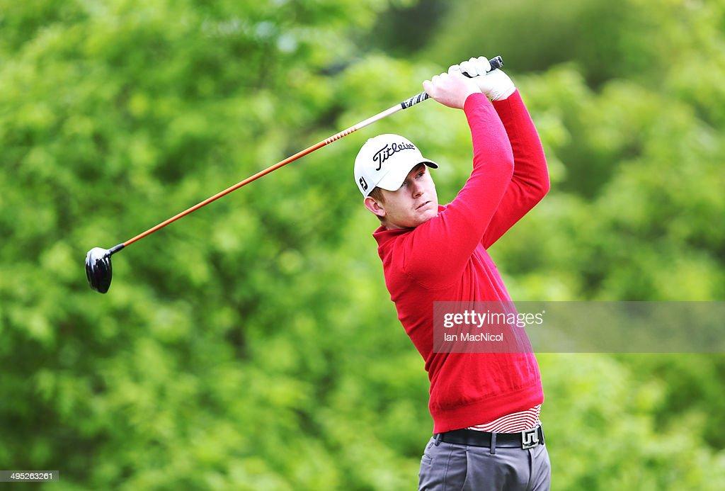 KINGDOM - JUNE 02 Stewart Watters of Balbirnie Park Golf Club tee's off at the first during the Powerade PGA Assistants' Championship - Scottish Regional Qualifier at Auchterarder Golf Club on June 02, 2014 in Auchterarder, Scotland.
