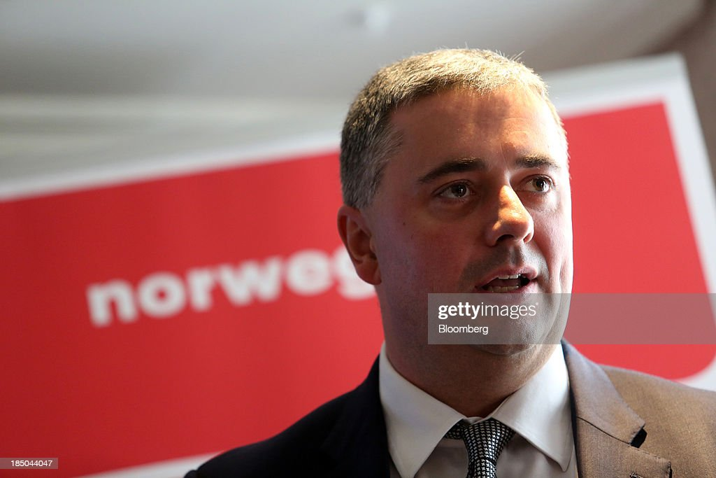 Stewart Wingate, chief executive officer at London Gatwick, speaks during a news conference in London, U.K., on Thursday, Oct. 17, 2013. Norwegian Air Shuttle AS will offer flights from London's Gatwick airport to New York, Los Angeles and Fort Lauderdale as it expands a network of discounted long-haul routes using its new fleet of Boeing Co. 787 jetliners. Photographer: Chris Ratcliffe/Bloomberg via Getty Images