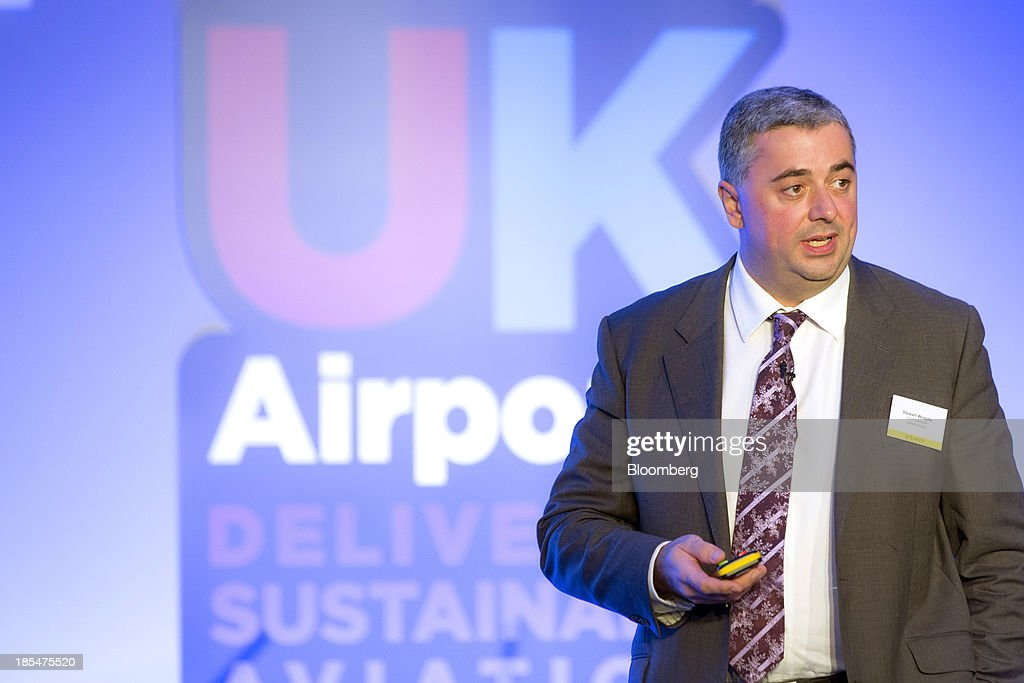 Stewart Wingate, chief executive officer of London Gatwick, the world's busiest single-runway airport, speaks during the Airport Operators Association (AOA) annual conference in London, U.K., on Monday, Oct. 21, 2013. The AOA conference is being held ahead of the Airports Commission interim report setting out a shortlist of options for maintaining the UK's status as an international hub for aviation. Photographer: Jason Alden/Bloomberg via Getty Images
