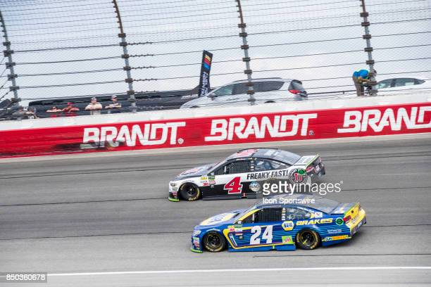 StewartHaas Racing Jimmie John's Ford driver Kevin Harvick and Hendrick Motorsports NAPA Brakes Chevy driver Chase Elliott during the Monster Energy...